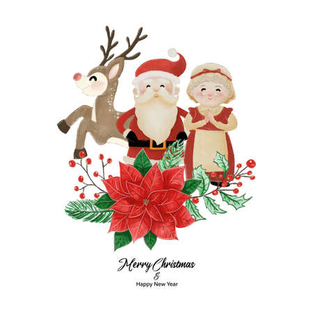 Merry Christmas and Happy New Year with Santa, Mrs Claus and Reindeer standing behind poinsettia flower. Watercolor design on white background vector illustration