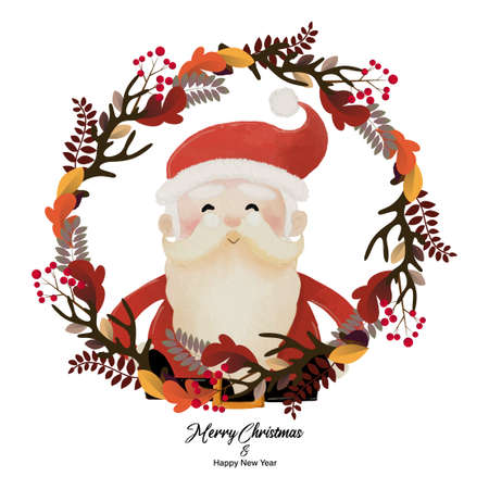 Merry Christmas and Happy New Year with Santa Claus in plant wreath. Watercolor design on white background vector illustration