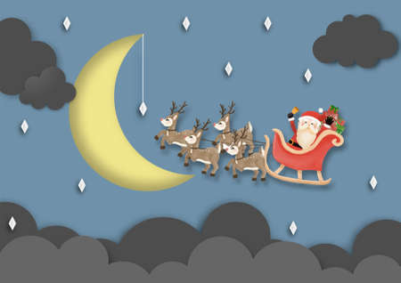 Merry Christmas and Happy New Year with Santa Claus and Reindeer Sleigh the sky in night time vector and illustration Çizim