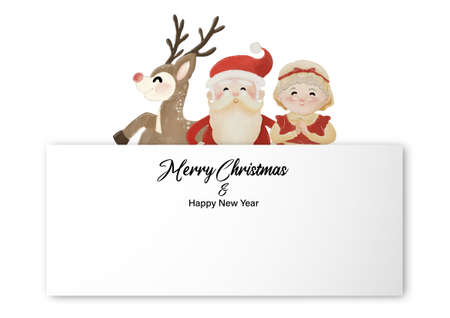 Merry Christmas and Happy New Year with Santa, Mrs Claus and Reindeer standing behind white label. Watercolor design on white background vector illustration