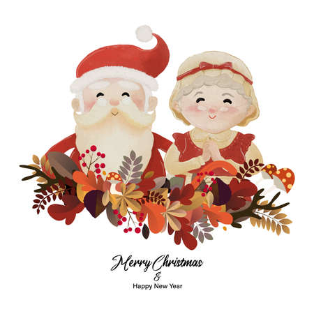 Merry Christmas and Happy New Year with Santa Claus and his wife Mrs Claus in plant wreath together. Watercolor design on white background vector illustration Çizim