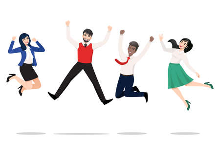 Business people jumping celebrating victory. Cheerful multiracial people celebrating together. A diverse group of happy company team colleagues jumping. Flat vector winning characters collection