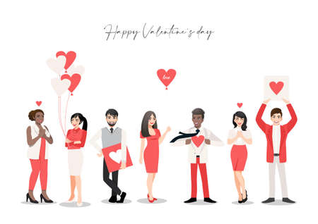 Cartoon character with people group holding hearts. Valentine s Day festival. Love and volunteering vector illustration Illusztráció
