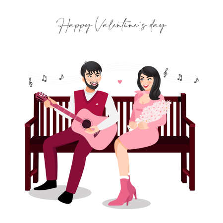Cartoon character with a couple sitting on vintage wood chair on white background. Valentine s Day festival. Lover sings a song together vector illustration