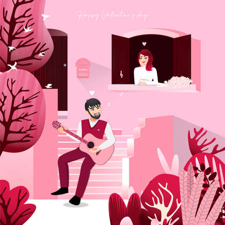 Cartoon character with a man sitting on front steps pink color home and a lady listening in vintage window. Valentine s Day festival vector illustration Illusztráció