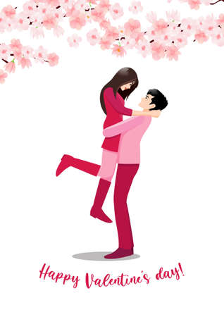Cartoon character with a couple standing together on white background and flower decorate. Valentine s Day festival vector illustration Ilustração