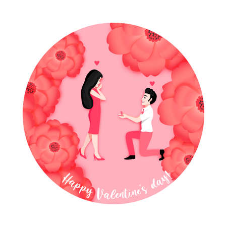 Cartoon character with a man propose marriage with girlfriend on flower background. Valentine s Day festival vector illustration Ilustração