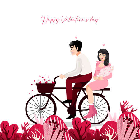 Cartoon character with a couple sitting on bicycle in white background. Valentine s Day festival vector illustration