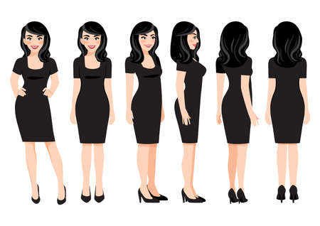 Cartoon character with business woman in black dress for animation. Front, side, back, 3-4 view character. Flat vector illustration.