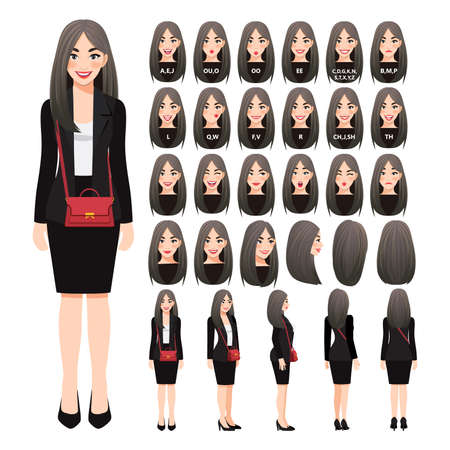 Cartoon character with business woman in black suit and shoulder bag for animation. Front, side, back, 3-4 view character. Separate parts of body. Flat vector illustration.