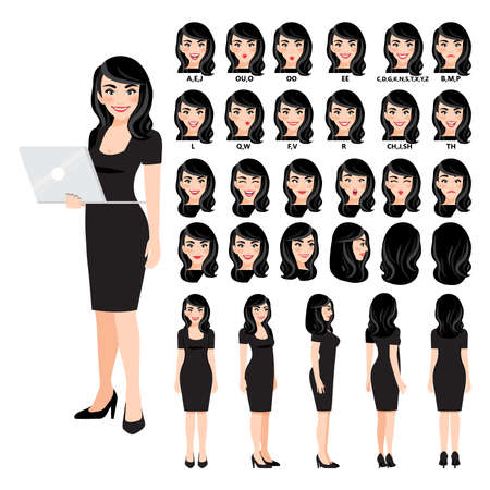 Cartoon character with business woman in black dress for animation. Front, side, back, 3-4 view character. Separate parts of body. Flat vector illustration. Ilustração