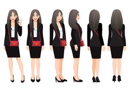 Cartoon character with business woman in black suit and shoulder bag for animation. Front, side, back, 3-4 view character. Flat vector illustration. Ilustração
