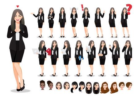 Businesswoman cartoon character set. Beautiful business woman in office style black suit. Vector illustration Ilustração