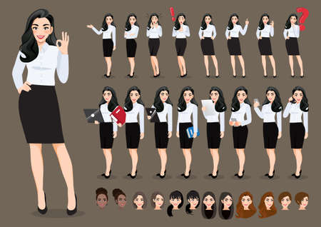 Businesswoman cartoon character set. Beautiful business woman in office style white shirt. Vector illustration.