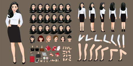 Businesswoman cartoon character creation set with various views, hairstyles, face emotions, lip sync and poses. Parts of body template for design work and animation. Ilustração