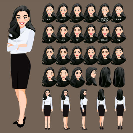 Cartoon character with business woman in white shirt for animation. Front, side, back, 3-4 view character. Separate parts of body. Flat vector illustration.