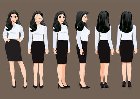 Cartoon character with business woman in white shirt for animation. Front, side, back, 3-4 view character. Flat vector illustration. Ilustração