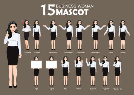 15 Business Woman Mascot, cartoon character style poses set vector illustration Ilustração