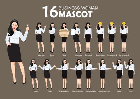 16 Business Woman Mascot, cartoon character style poses set vector illustration