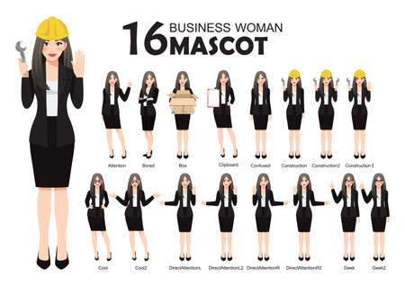16 Business Woman Mascot in Black Suit, cartoon character style poses set vector illustration