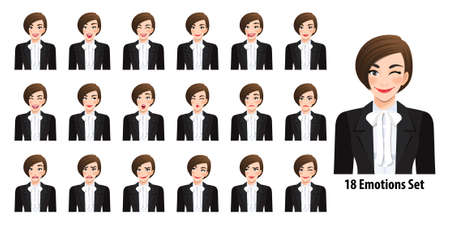 Beautiful business woman in black suit with different facial expressions set isolated in cartoon character style vector illustration