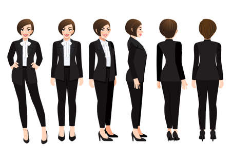 Cartoon character with business woman in black suit for animation. Front, side, back, 3-4 view character. Flat vector illustration
