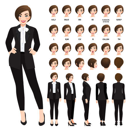 Cartoon character with business woman in black suit for animation. Front, side, back, 3-4 view character. Separate parts of body. Flat vector illustration