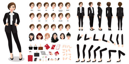 Businesswoman cartoon character in black suit creation set with various views, hairstyles, face emotions, lip sync and poses. Parts of body template for design work and animation
