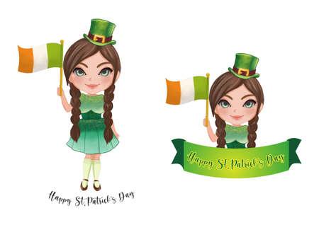 St.Patrick's Girl in Irish Custom. Happy St. Patrick's Day. Collection of Saint Patrick's Day Banner design vector illustration
