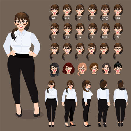 Cartoon character with plus size business woman in white shirt for animation. Front, side, back, 3-4 view character. Separate parts of body. Flat vector illustration