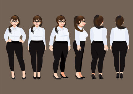 Cartoon character with plus size business woman in white shirt for animation. Front, side, back, 3-4 view character. Flat vector illustration