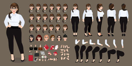 Plus size businesswoman cartoon character in white shirt creation set with various views, hairstyles, face emotions, lip sync and poses. Parts of body template for design work and animation