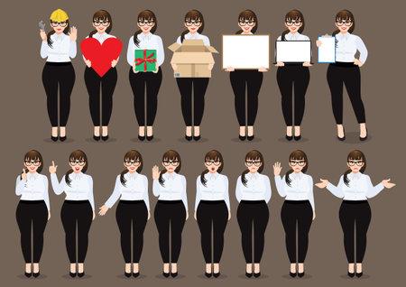 Plus size businesswoman cartoon character set. Beautiful business woman in office style white shirt. Vector illustration Ilustração