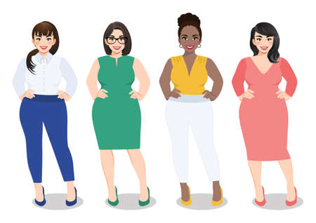 Cartoon vector beautiful plus size curved women in diverse fashion office wear, working women vector