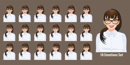 Plus size business woman in white shirt with different facial expressions set isolated in cartoon character style vector illustration Ilustração