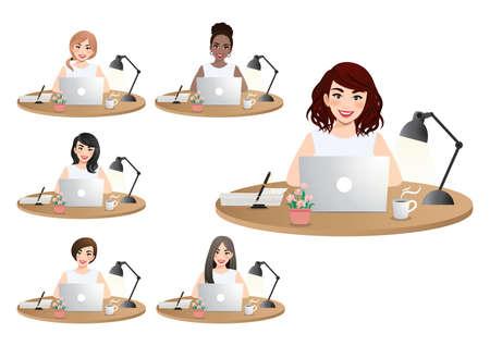 Set of diverse business women working on laptop vector illustration