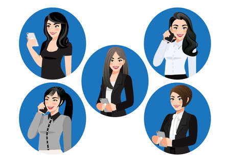 Set of female use smartphone vector flat illustration. Business women chatting or surfing internet on mobile phone. Communication Concept Collection of person hold mobile phone vector.