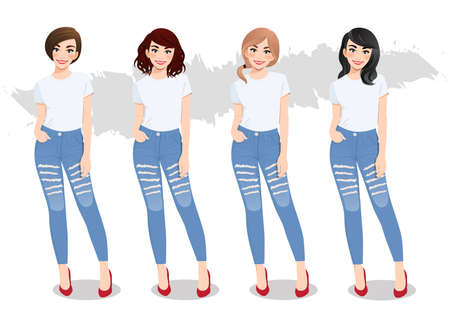 Set of diverse girls with different hairstyles in white T-shirts and blue jeans vector Ilustração