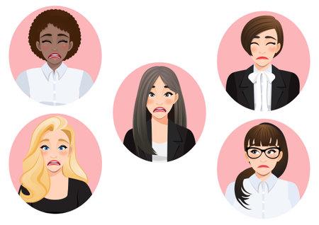Set of sad mood diverse business women vector Ilustração