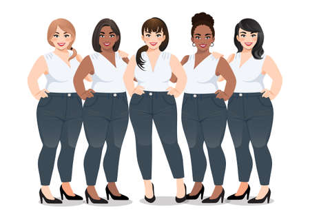Set of Plus size female in white sleeveless shirt and jeans standing together on white background vector Ilustração