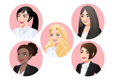 Set of business women faces in profile for pose 3-4 view character, Diversity. Avatars. Vector flat Illustration Ilustração
