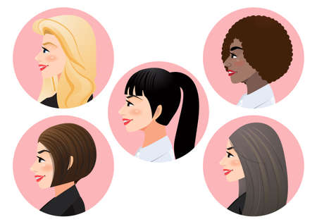 Set of business women faces in profile for pose side view character, Diversity. Avatars. Vector flat Illustration