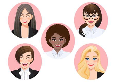 Set of smiling diverse business women vector