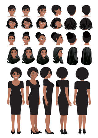 African American business woman cartoon character in black dress and different hairstyle for animation design vector collection Ilustração