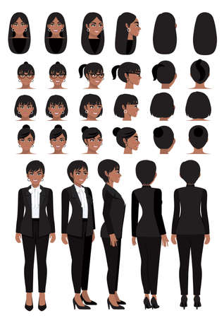 African American business woman cartoon character in black smart suit and different hairstyle for animation design vector collection