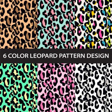 Six color leopard print pattern collection vector Ilustração