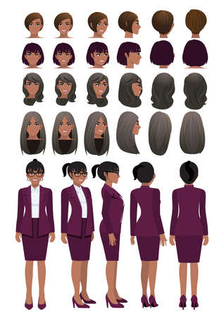 African American business woman cartoon character in grape purple color suit and different hairstyle for animation design vector collection