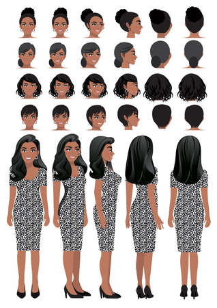 African American business woman cartoon character in leopard print dress and different hairstyle for animation design vector collection