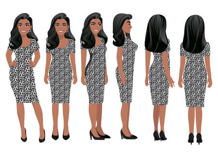 Cartoon character with business woman in leopard print dress for animation. Front, side, back, 3-4 view character. Flat vector illustration