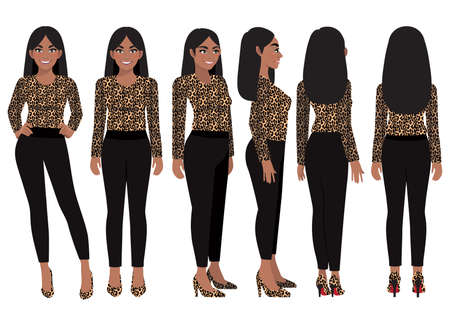 Cartoon character with business woman in leopard print shirt for animation. Front, side, back, 3-4 view character. Flat vector illustration